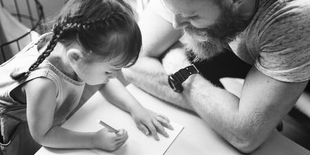 single family: Family Father Daughter Love Parenting Teaching Drawing Togetherness Concept