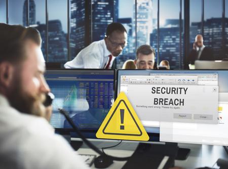 Security Breach Cyber Attack Computer Crime Password Concept Stockfoto