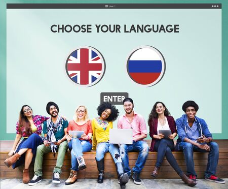 spoken: Russian English Communication Language Concept Stock Photo