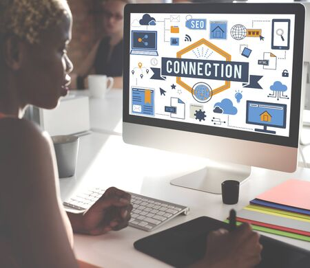 african woman at work: Connection Networking Online Internet Concept