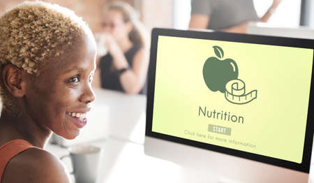 african woman at work: Nutrition Healthy Eating Diet Food Nourishment Concept