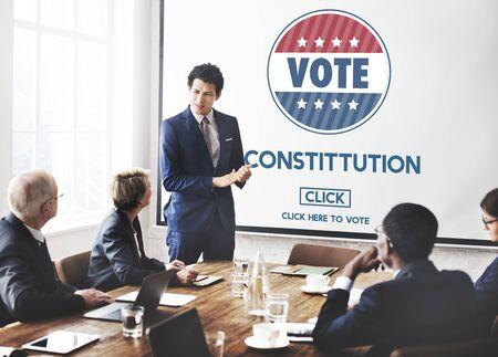 constituci�n pol�tica: Constitution Registration Regulations Rules Principles Concept Foto de archivo