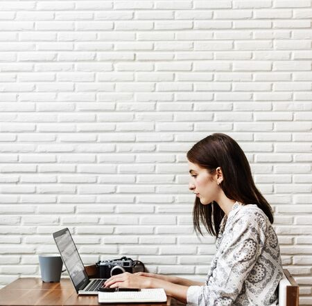 browsing: Woman Browsing Searching Working Typing Concept Stock Photo