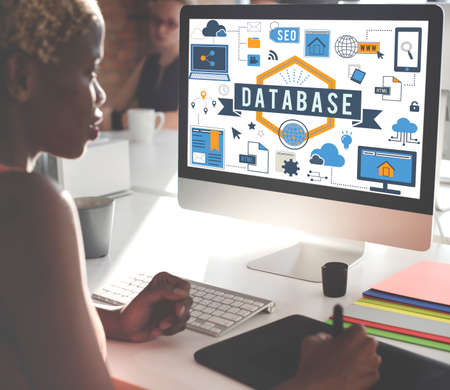 african woman at work: Database Information Server Storage Technology Concept