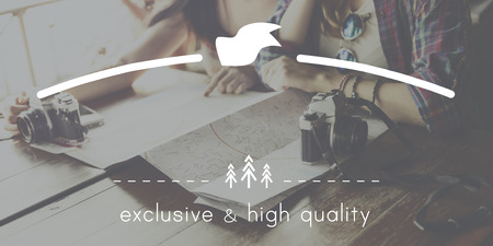 copy: Exclusive and High Quality Brand Markeing Copy Space Concept Stock Photo