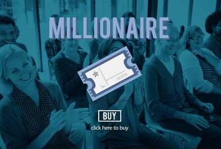millonario: Millionaire Prize Ticket Lottery Concept Foto de archivo