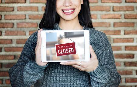 signage: Closed Signage Marketing Shop Concept Stock Photo