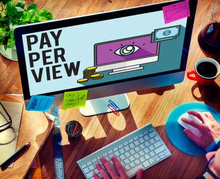 observation: Pay-Per-View Content Magnifier Observation Concept Stock Photo