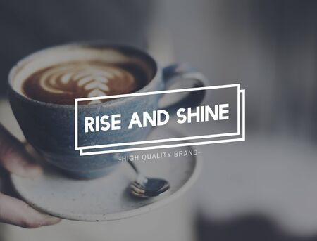 caffeinated: Rise Shine Growth Improvement Increase Progress Concept Stock Photo