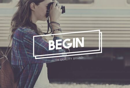 starting a business: Begin Startup New Business Starting Point Beginning Concept Stock Photo