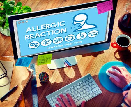allergic reaction: Allergic Reaction Allergy Disorder Sickness Healthcare Concept