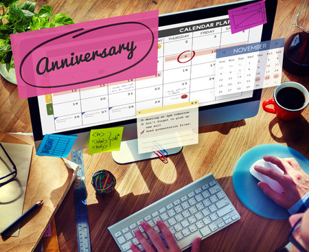 event planner: Anniversary Event Appointment Planner Calendar Concept Stock Photo