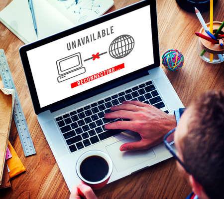 denied: Unavailable Denied Disconnected Error Problem Concept Stock Photo