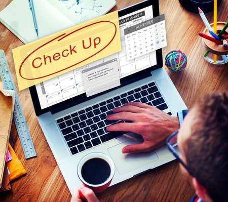 check up: Check up Event To Do List Headline Concept