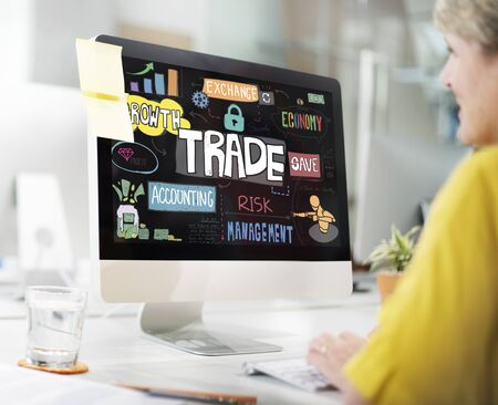 technology transaction: Trade Commerce Business Economy Merchandise Concept Stock Photo