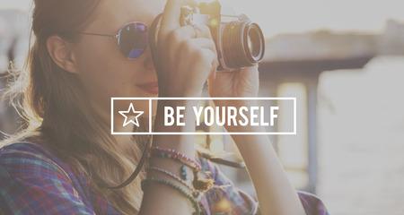 self esteem: Be Yourself Self Esteem Confidence Optimistic Concept