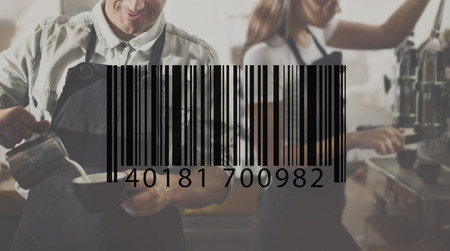 small business woman: Barcode Mark Sign Market Item Concept Stock Photo