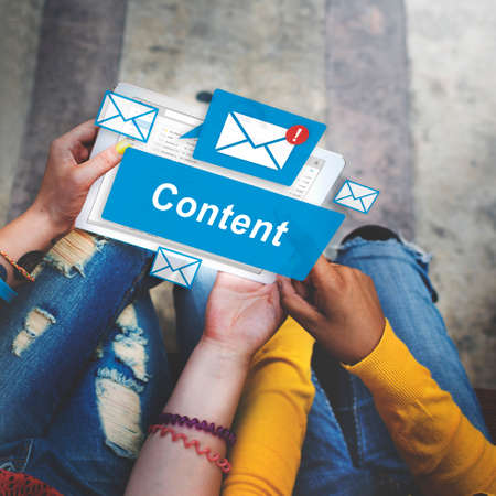 fulfilled: Content Blogging Data Internet Media Sharing Concept Stock Photo