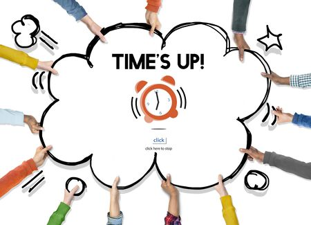 times up: Time Alarm Deadline Countdown Concept Stock Photo