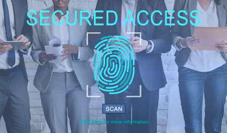 web security: Fingerprint Technology Data Protection Concept Stock Photo