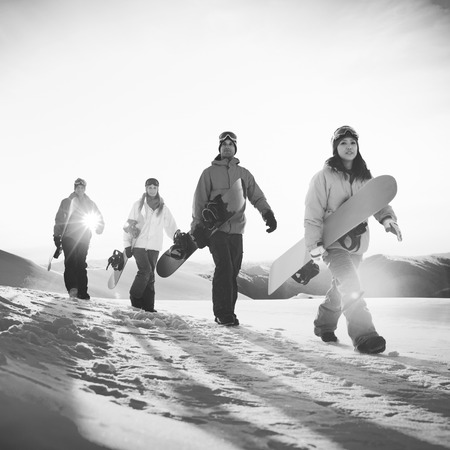 winter sport: People Snowboard Winter Sport Friendship Concept