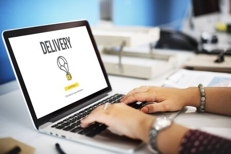 online service: Delivery Courier Commodity Freight Goods Order Concept Stock Photo