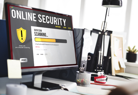 Online security concept on computer