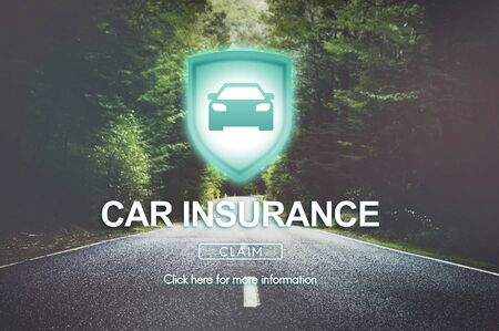 two lane highway: Car Insurance Accident Property Protection Concept