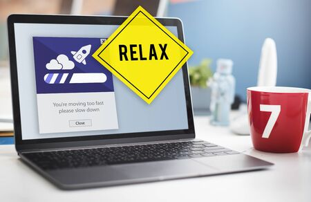 take time out: Keep Calm Reduce Speed Relax Slow Down Concept Stock Photo
