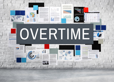 work load: Overtime Working Late Work Load Concept Stock Photo