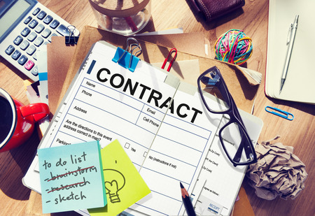 legal pad: Contract Deal Agreement Legal Document Concept Stock Photo