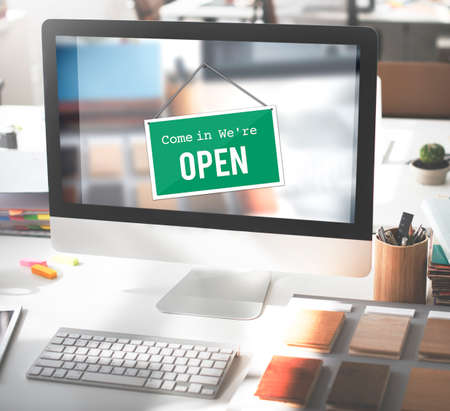 signage: Open Signage Marketing Shop Concept