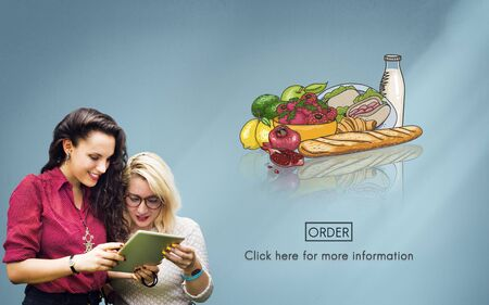 order online: Food Products Order Online Delivery Concept Stock Photo