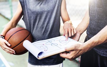 Basketball Player Sport Game Plan Tactics Concept Imagens