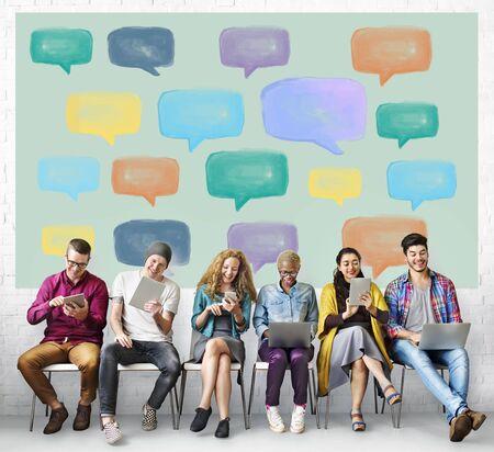 multi touch: Communication Talking Icon Speech Bubble Concept