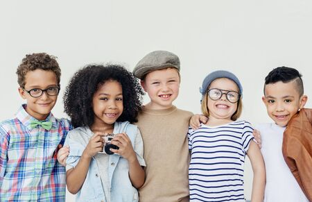 Hipster Kids Friends Playing Togetherness Fun Concept Stock Photo