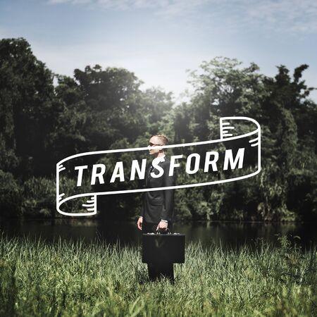 attache case: Transform Background Change Evolution Life Concept Stock Photo