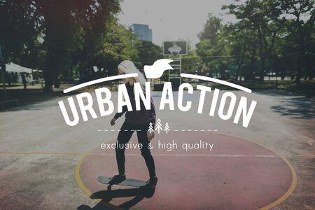 active adult community: Urban City Center Commerce Community Town Concept Stock Photo