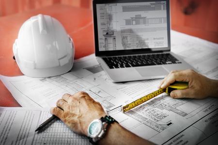 Engineer Architect Construction Site Planning Concept Reklamní fotografie