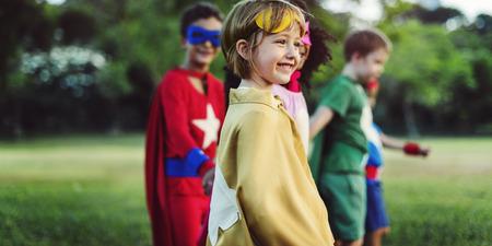 aspiration: Superhero Kids Aspiration Imagination Playful Fun Concept