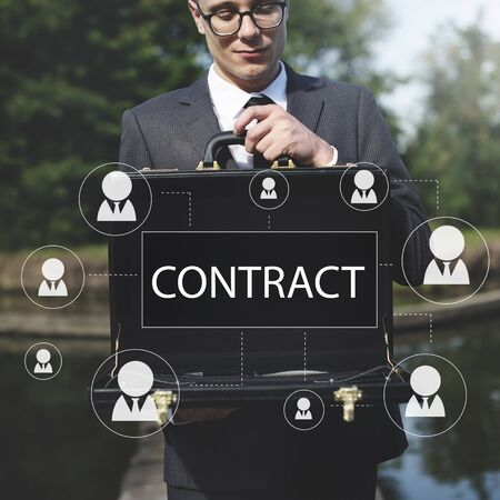 attache case: Contract Agreement Promise Contractor Contraction Concept Stock Photo
