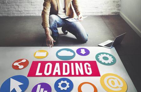 downloading: Loading Downloading Online Internet Concept Stock Photo