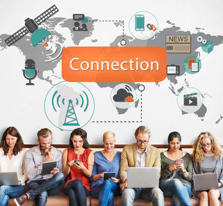 at communication: Connection Communication Interconnection Concept