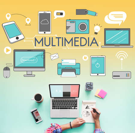 digital music: Multimedia Communication Connection Technology Devices Concept Stock Photo