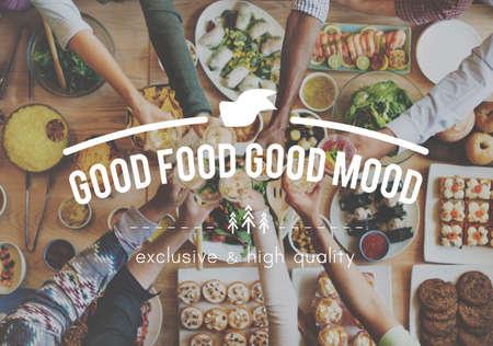 comida rica: Buena comida, buena Concepto de la comida del estado de ánimo