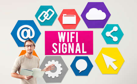 net meeting: Wireless Signal Reception Mobility Graphic Concept