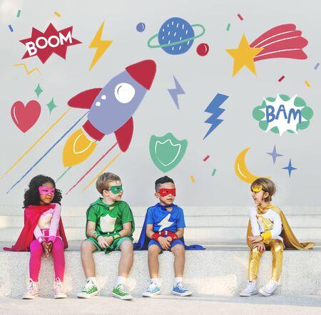playful: Superhero Superkid Children Hero Playful Concept