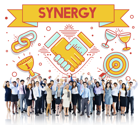 sinergia: Synergy Collaboration Cooperation Teamwork Concept Foto de archivo