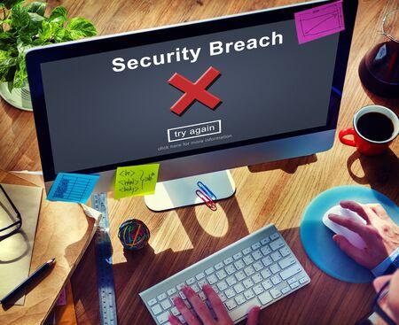 security breach: Security Breach Computer Data Hacker Information Concept