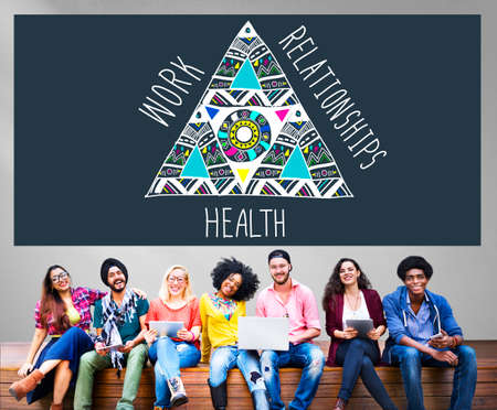 equal to: Work Relationships Health Balance Equal Stable Concept